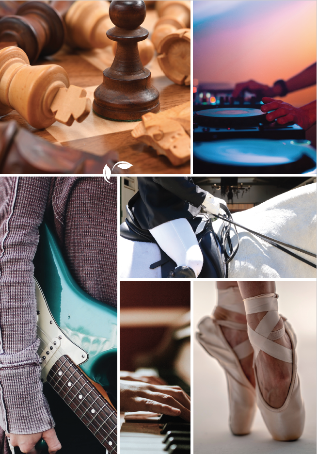 Collage med flere ulike satsingsområder, musikk, ridning, sjakk. Foto.